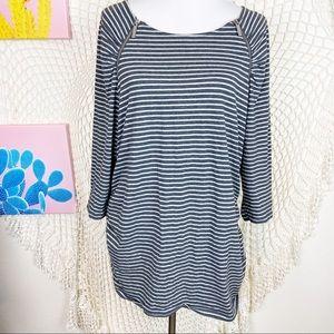 Michael Michael Kors striped zip shoulder blouse